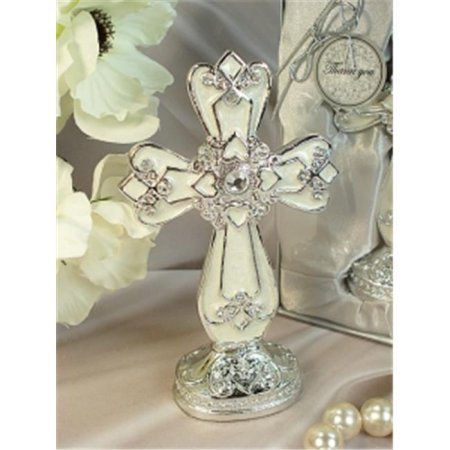 DLusso Designs 4370 Medium Ivory Silver Classic Cross With Base ()