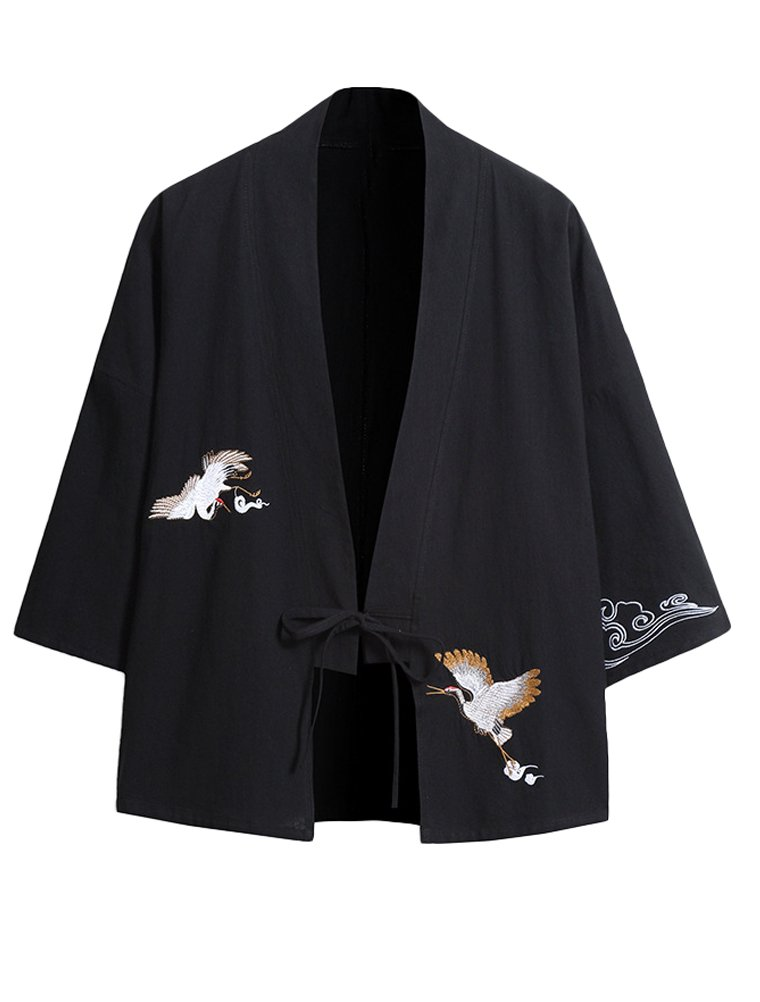 Lavnis Men's Emboridery Kimono Cardigan Casual Cotton Linen Seven Sleeves Open Front Coat XL