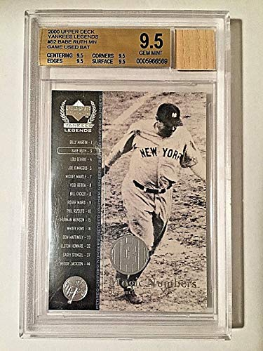 2000 UD Yankees Legends Magic Numbers #52 Babe Ruth Bat Relic BGS GEM MINT 9.5