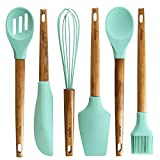 Silicone Baking Utensils | Wooden Handle, Balloon whisk, Slotted & Solid Kitchen Spoon, Spatula, Long Scraper and Pastry Brush, Acacia Hard Wood Handle
