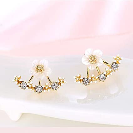Owmeot Women Fashion Accessories Crystal Stud Earrings Boucle Doreille Femme Flower Earrings Gold Bijoux Jewelry Rose Gold