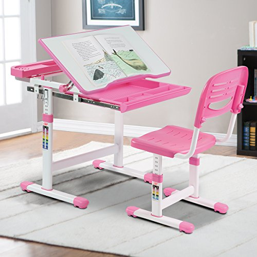 Workstation Set Wide (Costzon Kids Desk and Chair Set, 0-40 Degree Table Top Adjustable Tilt for Painting, Spacious Pull Out Drawer, Height Adjustable, School Study Workstation for Children (Pink))
