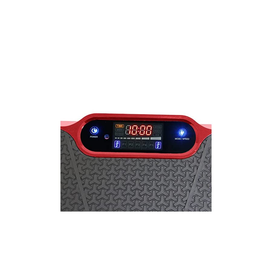 Clevr Upgraded Red Mini Full Body Vibration Platform Massage Machine w/Bluetooth MP3, Upgraded 180 Speed Levels