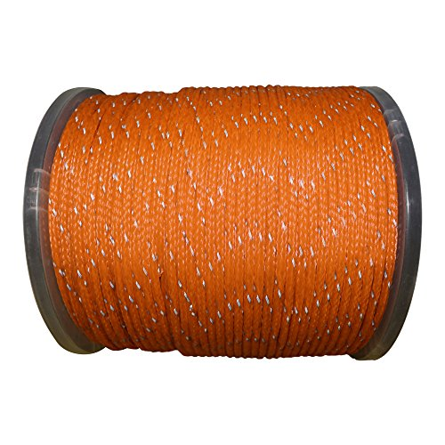 Hollow Braid Polyethylene Rope (3/8 inch) - SGT KNOTS - 100% High-Grade Polyethylene Cord with Reflective Tracers - Path Marking, Ski Slopes, Outdoor Concerts, Crafting (1,000 feet - Spool - Orange)