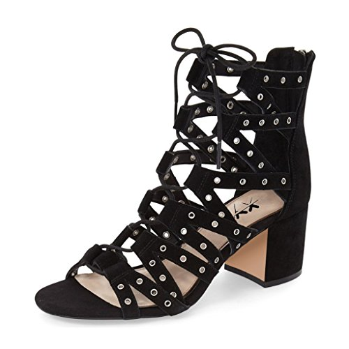 XYD Stylish Strappy Gladiator Sandals Open Toe Lace Up Ankle High Booties Low Heels for Women Size 4 Black