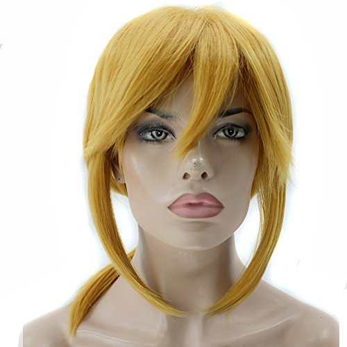 (Anogol Hair Cap+Short Golden Wig for Cosplay Halloween Costume)