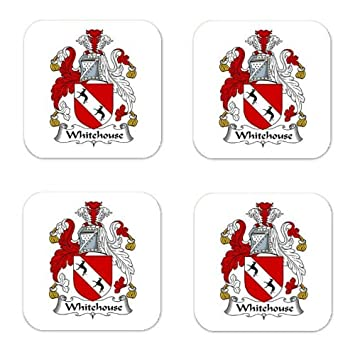 Amazon.com | Whitehouse Family Crest Square Coasters Coat of Arms ...