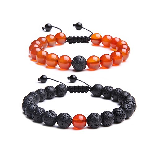 Jade cabbage Distance Relationship Bracelets for Couple-2pcs (Black Lava & Red Agate Braided) - Red Jade Beaded Bracelet