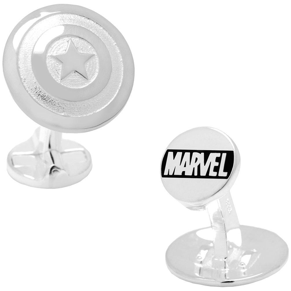Marvel Officially Licensed 3D Captain America Cufflinks, Silver