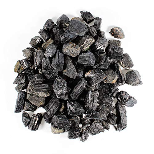 1/2 lb Rough Black Tourmaline Healing Crystals - Tourmaline Stones for EMF Protection - Raw Natural Black Tourmaline Stones in Bulk - Crystal Healing - Cabbing Cutting Lapidary Tumbling and Polishing