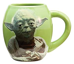 Vandor 99068 Star Wars Yoda 18 oz Oval Ceramic Mug, Green