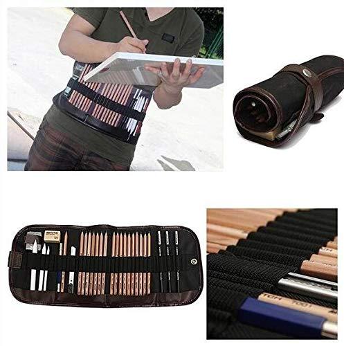 Portable Outdoor Drawing Art Supplies Sketch Pencils case Charcoal Eraser Cutter Kit Bag Art Craft for Drawing Tools 29pcs/Set