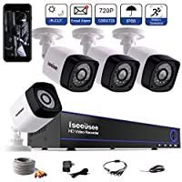 Iseeusee 4-Channel HD-TVI 720P 1080N Video Security DVR Surveillance Camera Kit 4x1500TVL Indoor Outdoor Weatherproof Bullet Cameras 100feet Night Vision with IR Cut Support Smartphone Remote Access