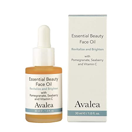 Essential Beauty Face Oil – Vitamin C, Squalane, Sea Buckthorn Pomegranate – Anti-Aging Formula – Avalea Skincare – 1.0 fl.oz.