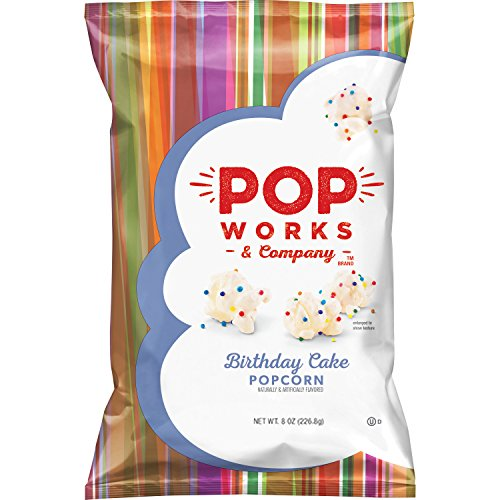 Pop Works Company Birthday Cake Flavored Popcorn 8 Ounce Pack Of 4