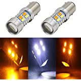 JIE Carall 1157 T25 Bay15d 1034 1130 Switchback Dual Color White Amber led Turn Signals Brake Lights Bulb 5730 Chipsets 20SMD Replacement Exterior Backup Tail Light with Projector 12V (Pack of 2)