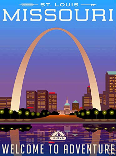 (A SLICE IN TIME St. Louis Missouri Welcome to Adventure United States Retro Travel Home Collectible Wall Decor Advertisement Art Deco Poster Print. 10 x 13.5)