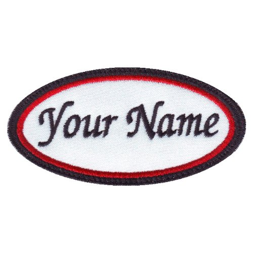 A Rectangular 2 Line Personalized Embroidered Name Text Tag Patch