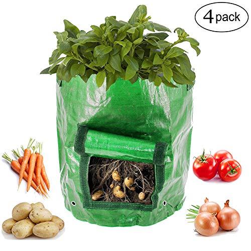 Kyerivs Garden Potato Grow Bag 4 Pack 10 Gallon Vegetables Planter Bags Growing Potato, Carrot & Onion by Kyerivs
