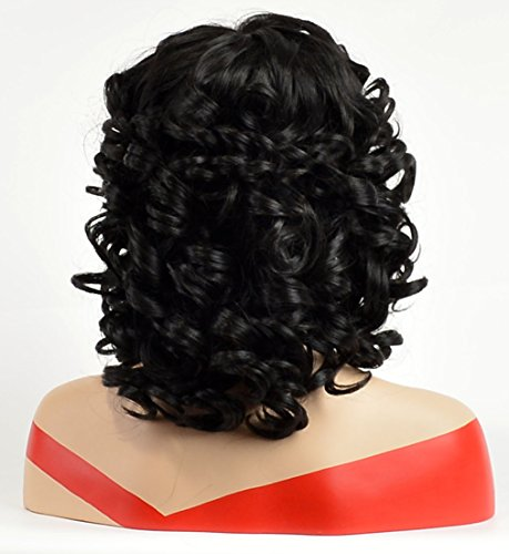 YOURWIGS Short Curly Wigs For Black Women Afro Synthetic Hair Wigs Fluffy Wavy With Wig Cap
