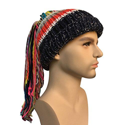 Kafeimali Men/Women Barbarian Vagabond Knit Hat Wig Ponytail Beanie Funny Caps (Mens Barbarian Wig)