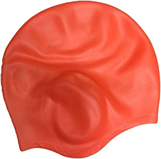 ZDYS Coque en Silicone Bonnet de Bain pour Homme et Femme avec Anti-déchirure 3D Ergonomique Oreille Poches Couvrir Les Oreilles, Coque en Silicone Bonnet de Bain pour Cheveux Longs Cheveux Courts orange