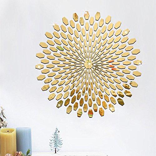 225Pcs Mirror Tile Wall Sticker 3D Decal Mosaic Room Decor Stick On Modern Art -Gold by Yanoen