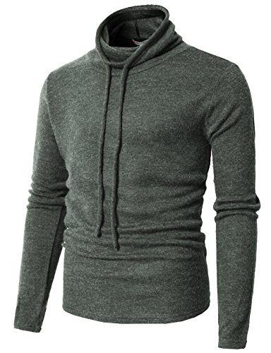 (H2H Mens High Chimney Neck Fleece Sweater for Fall and Winter Charcoal US 3XL/Asia 4XL (CMTTL090))