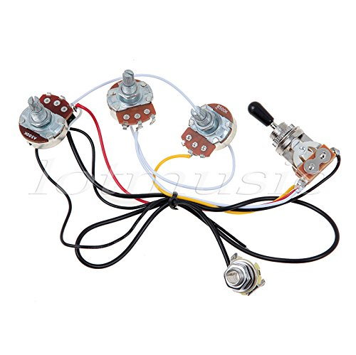 Kmise MI0318 Guitar Wiring Harness 2 Volume 1 Tone Potentiometers 500K 3 Way Toggle Switch Chrome ()