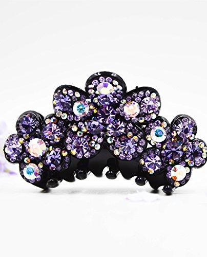 Fancyin New arrival Luxury Purple Crystal colorful rhinestones hair claw clip for women by Fancyin (Image #4)