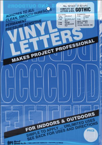 Graphic Products Permanent Adhesive Vinyl Letters and Numbers, 3-Inch, Blue, 160/pkg]()