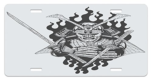 Spiritual Fighter (Japanese License Plate by Lunarable, Fearsome Ghost Ninjain FireOriental Mythology Spiritual Eastern Fighter Print, High Gloss Aluminum Novelty Plate, 5.88 L X 11.88 W Inches, Black White)
