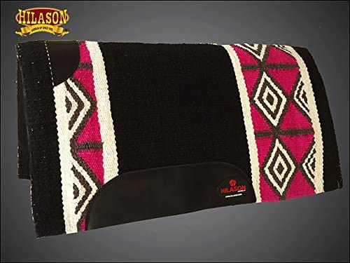 HILASON Made in USA Western Wool Felt Saddle Blanket Pad Pink Black White