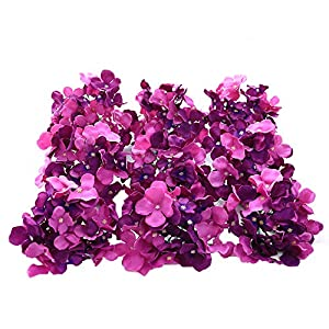 Veryhome Blooming Silk Hydrangea Flower Heads for DIY Bouquets Wedding Centerpieces Home Decor 12pcs purple 17