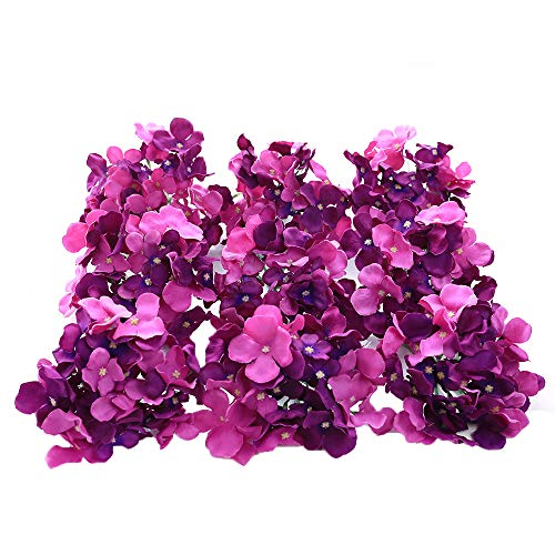 Purple Hydrangea Bouquet - Veryhome Blooming Silk Hydrangea Flower Heads for DIY Bouquets Wedding Centerpieces Home Decor 12pcs purple