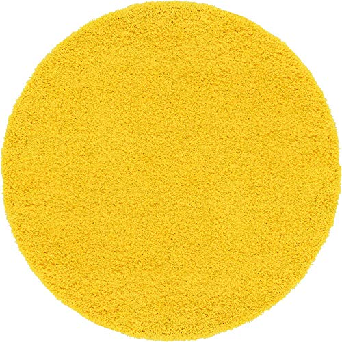 Unique Loom Solo Solid Shag Collection Modern Plush Tuscan Sun Yellow Round Rug (6' 0 x 6' 0)