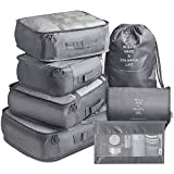 Packing Cubes 7 Pcs Travel Luggage Packing Organizers Set with Toiletry Bag (Grey)