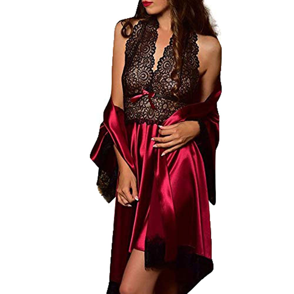 Pajamas Set Plus Size for Women's,Yamally Satin Lace Lingerie Kimono Robe Plain Dressing Gown Nightdress with Robe Wine