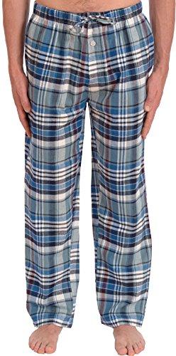 Platinum Men's Soft Flannel Pajama Lounge Pants (Light Blue Plaid, Large) (Big Mens Fleece Pajama Pants)