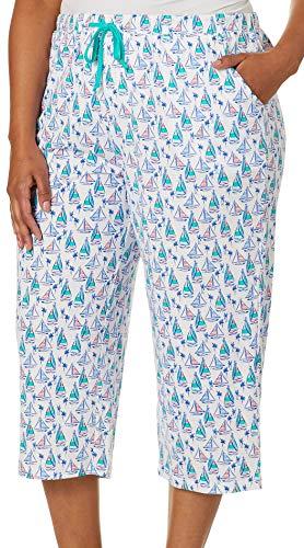 - Coral Bay Plus Sailboat Print Capri Pajama Pants 2X White/Blue Multi