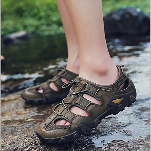 Wagsiyi 24 27 Scarpe da Da Casual Traspiranti In 0 CM spiaggia Collision Sandali Pelle 0 Sandali pantofole Verde Scarpe Uomo Scarpe Outdoor ZwqZrOP