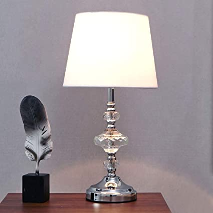 LANKITA HOME Elegant Style Chrome Living Room Bedside Crystal Table Lamp,White Fabric Shade Bedside Lamp for Bedroom Living Room