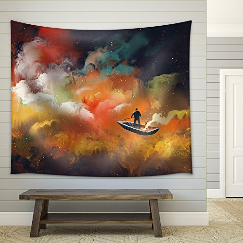 Man on a Boat in the Outer Space with Colorful Cloud Illustration Fabric Wall