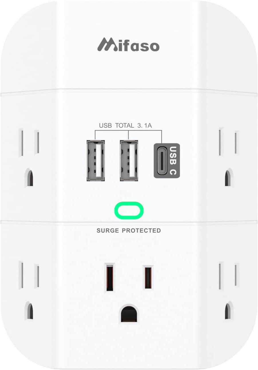 Mifaso 5-Outlet 1800W 490J Wall Surge Protector  $11.99 Coupon