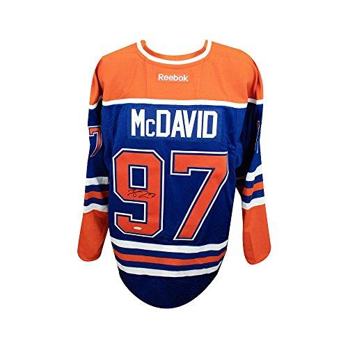 Autographed Blue Authentic Jersey Reebok (Connor McDavid Autographed Blue Edmonton Oilers Authentic Reebok Jersey - UDA)