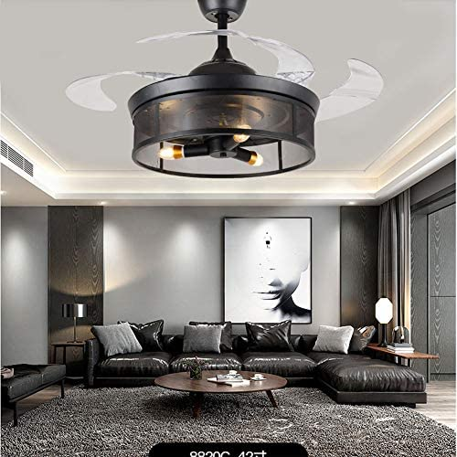 42″ Black Rustic Retractable Blade Ceiling Fan Chandelier