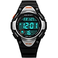Boys Watch Child watches Waterproof Dial Digital Analog Display Sports Casual LED Wrist Watches Black