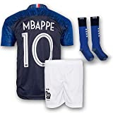 Mbappe Jersey France Home 10 Soccer Jersey & Shorts - Youth Football Kits For Kids Boys, Girls & Children (6-7y)