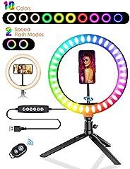"""Anel de luz de selfie, BlitzWolf 10,2"""" LED com 10 cores reguláveis RGB e 10 níveis de brilho, anel de sel"""