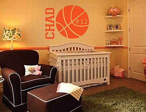 Personalized Monogram Kids Wall Decals - Boys Wall Decal- Name Vinyl Lettering - baby boy nursery wall decal Chad Basketball